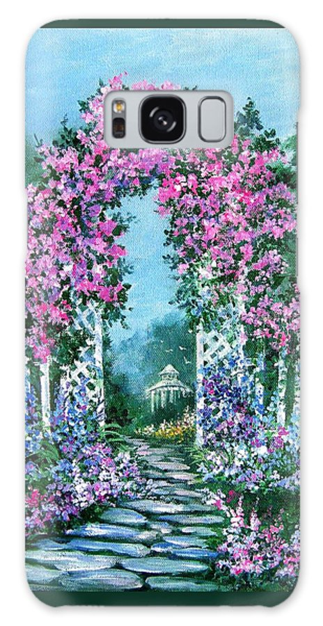 Roses;floral;garden;picket Fence;arch;trellis;garden Walk;flower Garden; Galaxy S8 Case featuring the painting Rose-covered Trellis by Lois Mountz