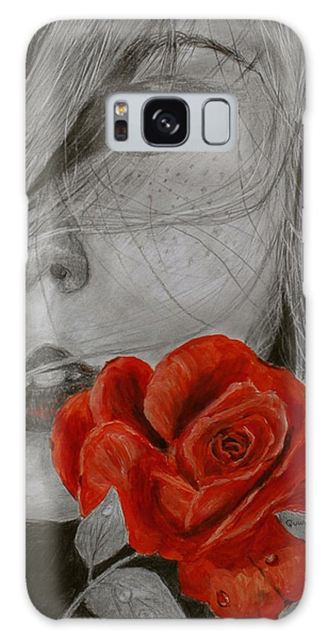 Woman Galaxy S8 Case featuring the painting Rose Kisses by Quwatha Valentine