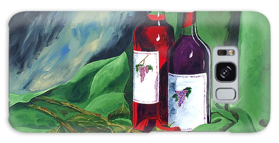 Wine And Roses Red Roses Red Wine Still Life Galaxy S8 Case featuring the painting Roses And Wine by Herschel Fall
