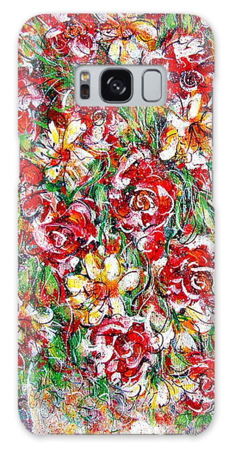 Red Roses Galaxy S8 Case featuring the painting Roses For You by Natalie Holland