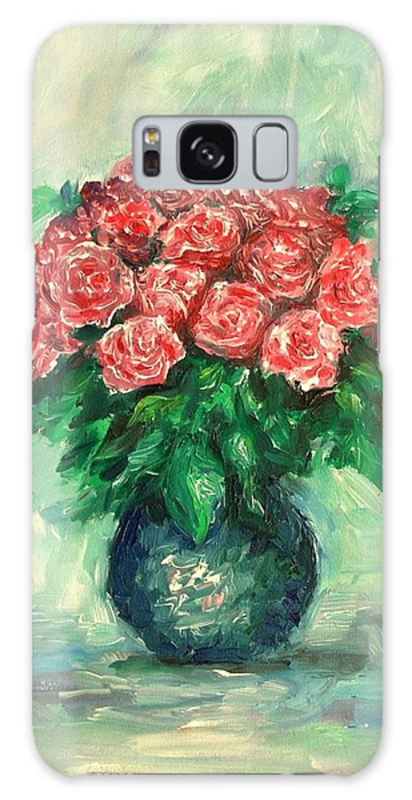 Oil Canvas Galaxy Case featuring the painting Roses Oil Painting by Natalja Picugina