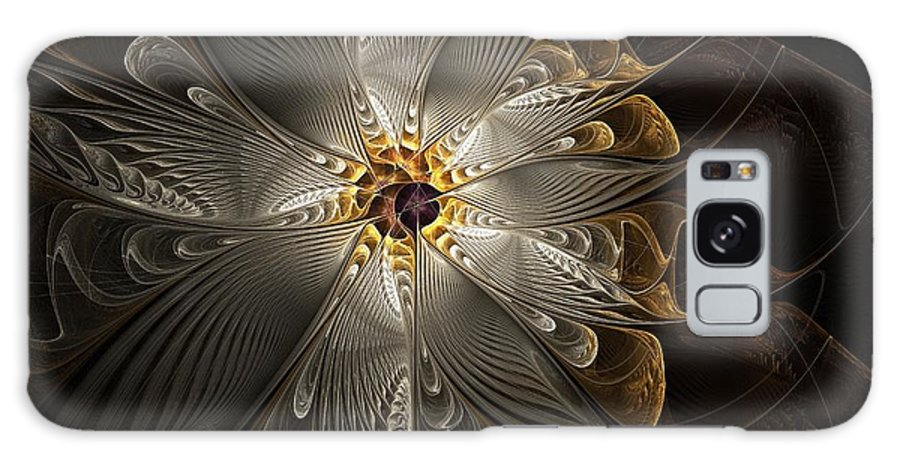 Digital Art Galaxy Case featuring the digital art Rosette In Gold And Silver by Amanda Moore