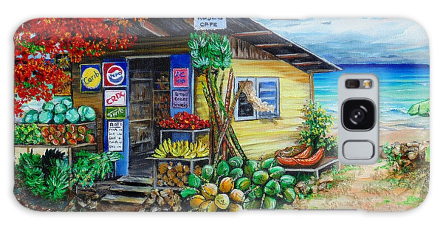Beach Cafe Galaxy Case featuring the painting Rosies Beach Cafe by Karin Dawn Kelshall- Best
