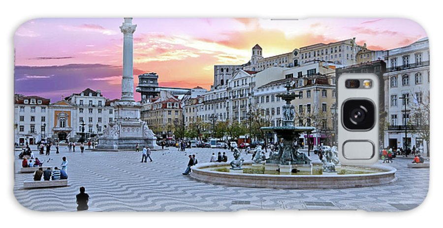 Square Galaxy S8 Case featuring the photograph Rossio Square In Lisbon Portugal At Sunset by Nisangha Ji