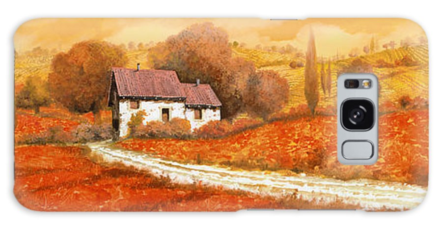 Tuscany Galaxy Case featuring the painting Rosso Papavero by Guido Borelli