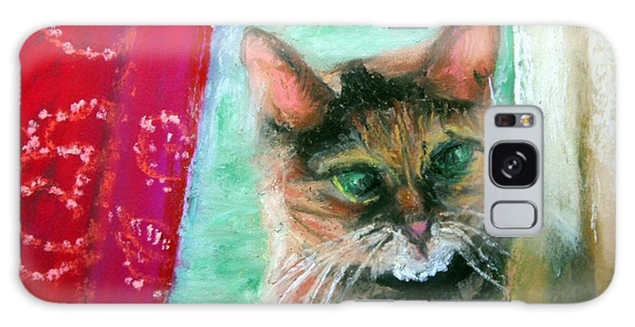 Cat Galaxy S8 Case featuring the painting Rosy In Color by Minaz Jantz