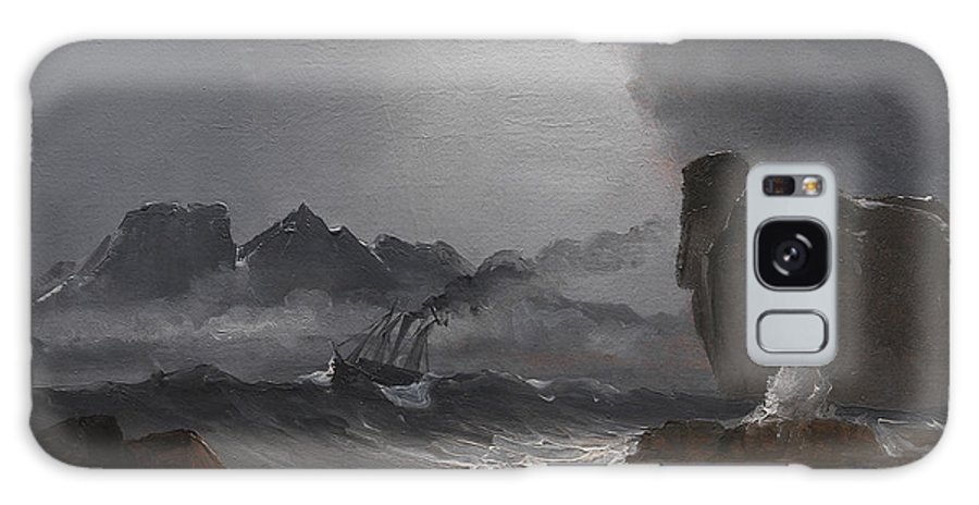 Peder Balke Galaxy S8 Case featuring the painting Rough Sea With A Steamer Near The Coast Of Norway by Peder Balke