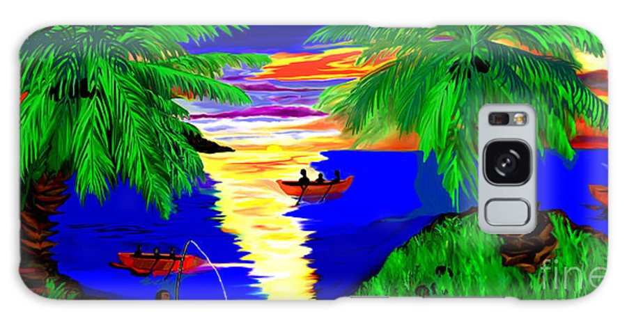 Digital Paintings Galaxy S8 Case featuring the digital art Rowing On The Sunset by Brenda L Spencer
