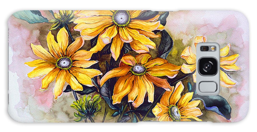 Flower Painting Sun Flower Painting Flower Botanical Painting  Original Watercolor Painting Rudebeckia Painting Floral Painting Yellow Painting Greeting Card Painting Galaxy S8 Case featuring the painting Rudbeckia Prairie Sun by Karin Dawn Kelshall- Best
