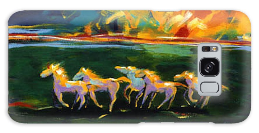 Abstract Horse Galaxy Case featuring the painting Run From The Sun by Lance Headlee