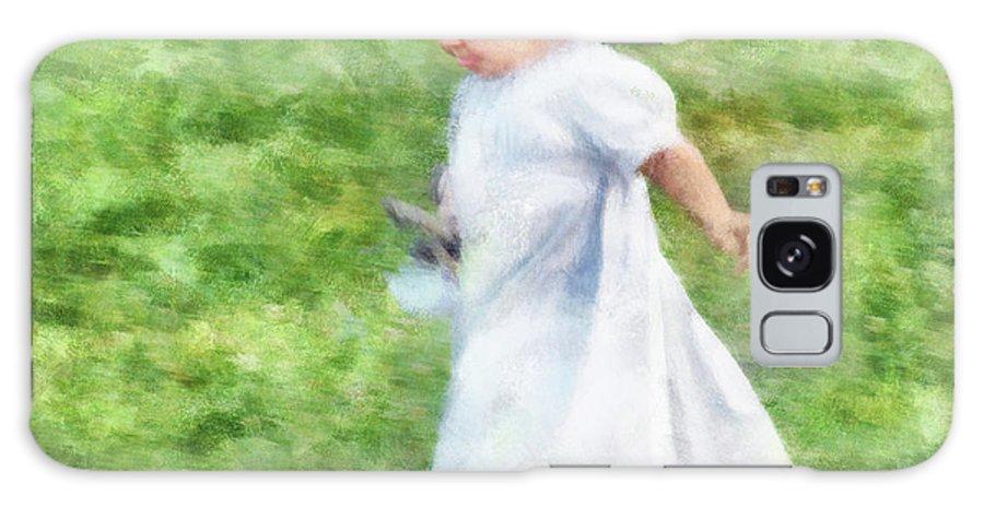 Girl Galaxy S8 Case featuring the digital art Running Barefoot In The Grass by Francesa Miller