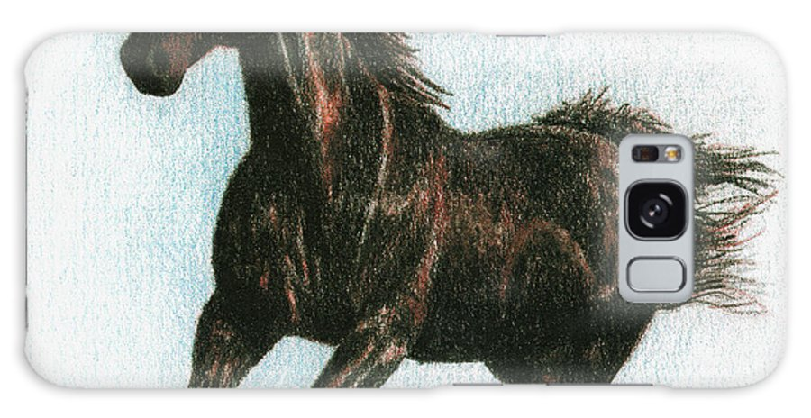 Horse Galaxy Case featuring the drawing Running Free by Arline Wagner