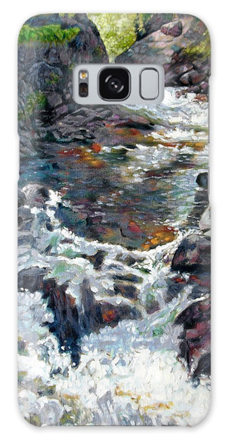 A Fast Moving Stream In Colorado Rocky Mountains Galaxy Case featuring the painting Rushing Waters by John Lautermilch