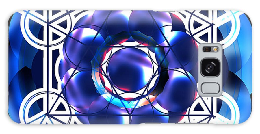 Sacred Galaxy S8 Case featuring the digital art Sacred Geometry Blue Shapes Background by Laura Haro
