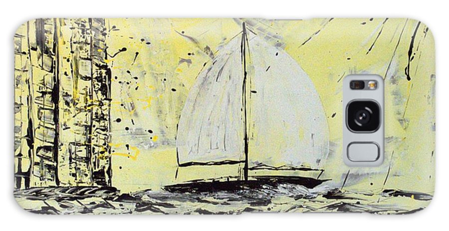 Sailboat With Sunray Galaxy Case featuring the painting Sail And Sunrays by J R Seymour