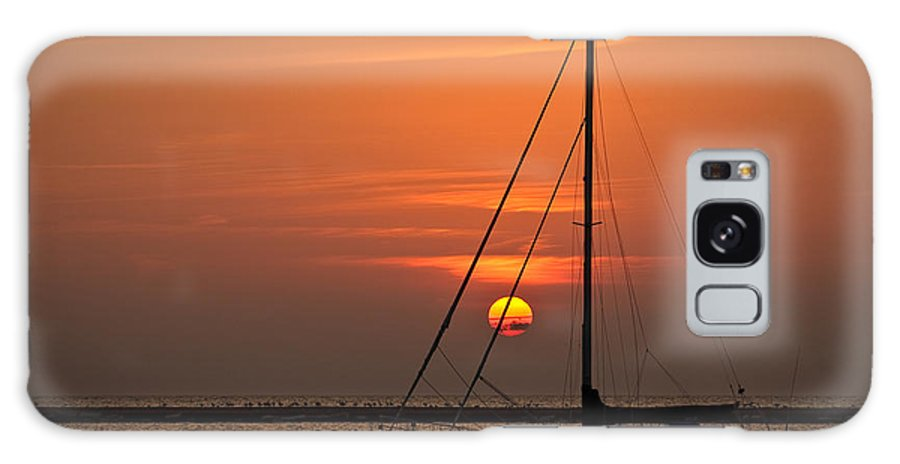 Boat Galaxy S8 Case featuring the photograph Sailboat Sunrise Chicago by Steve Gadomski
