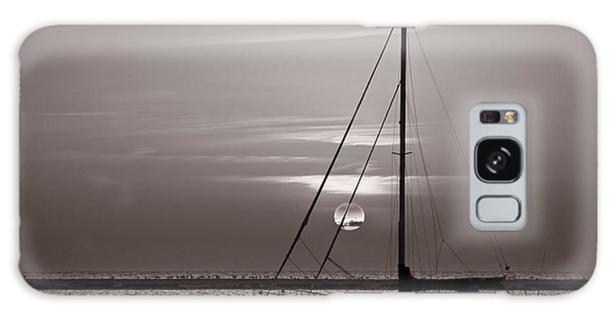 Boat Galaxy S8 Case featuring the photograph Sailboat Sunrise In B And W by Steve Gadomski
