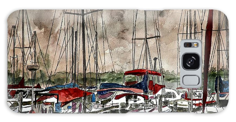 Watercolor Galaxy Case featuring the painting Sailboats At Night by Derek Mccrea