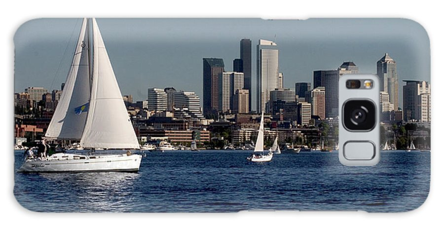 Seattle Galaxy S8 Case featuring the photograph Sailboats In Seattle by Carl Purcell