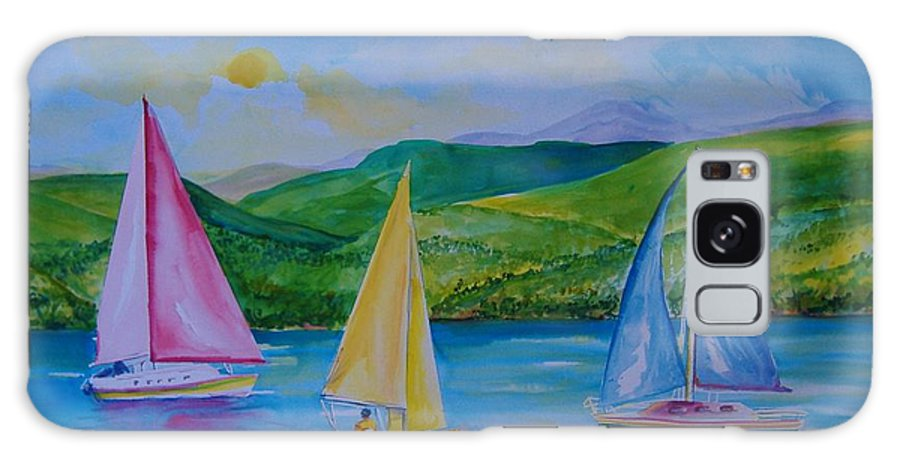 Sailboats Galaxy S8 Case featuring the painting Sailboats by Laura Rispoli