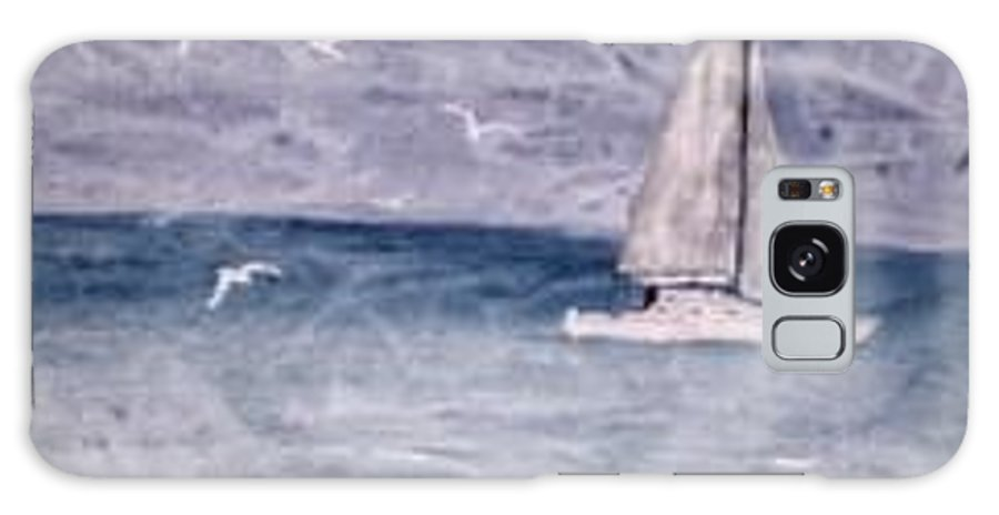Watercolor Seascape Sailing Boat Landscape Painting Galaxy S8 Case featuring the painting SAILING AT NIGHT nautical painting print by Derek Mccrea