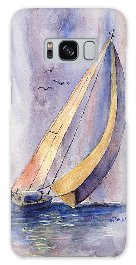 Sailboat Galaxy Case featuring the painting Sailing At Sunset by Arline Wagner