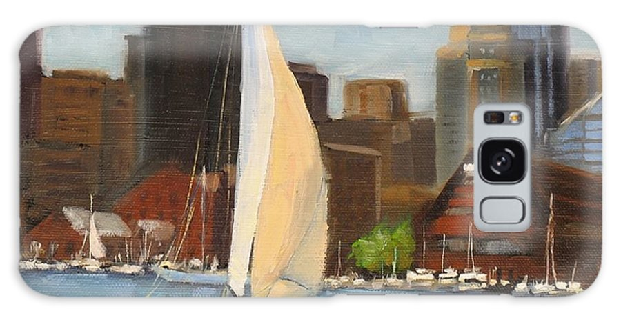 Oil Painting Galaxy S8 Case featuring the painting Sailing Boston Harbor by Laura Lee Zanghetti