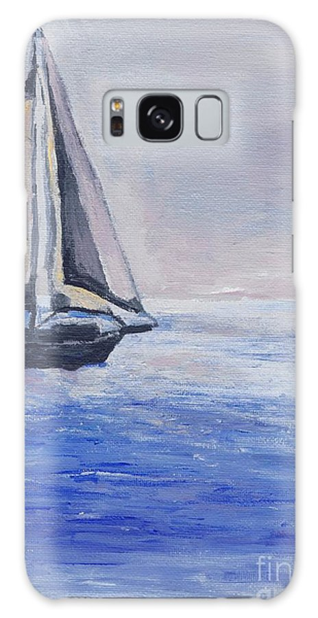 Sunset Galaxy S8 Case featuring the painting Sailing Off Cape May Point by Eric Schiabor