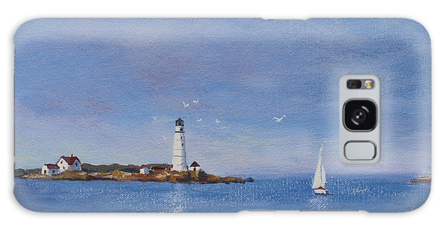 Seascape Galaxy Case featuring the painting Sailing To Boston Light by Laura Lee Zanghetti