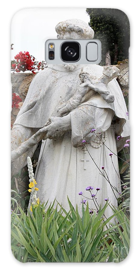 Saint Francis Galaxy S8 Case featuring the photograph Saint Francis Statue In Carmel Mission Garden by Carol Groenen