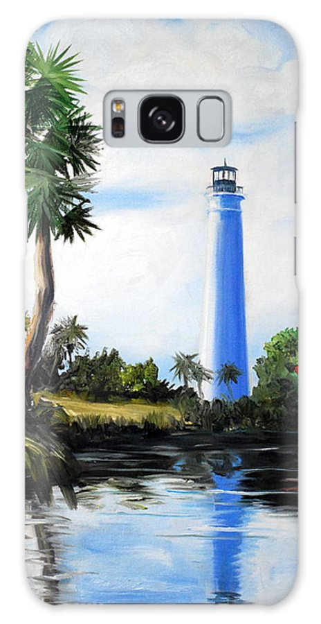 Light House Florida Saint Marks River Ocean Sea Palms Seacapes Galaxy S8 Case featuring the painting Saint Marks River Light House by Phil Burton
