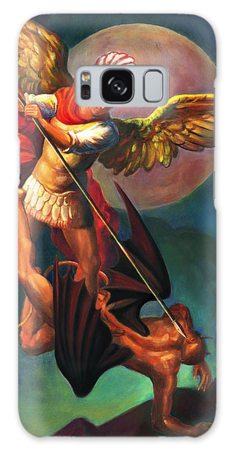 Bible Galaxy Case featuring the painting Saint Michael The Warrior Archangel by Svitozar Nenyuk