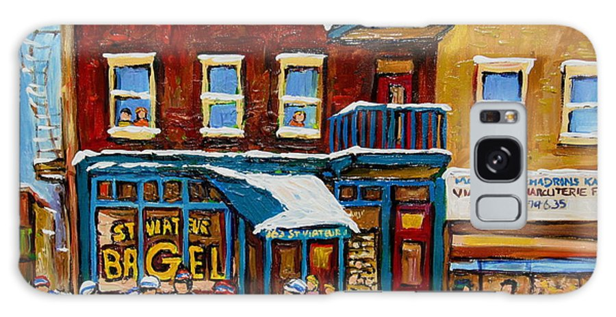 Montreal Galaxy S8 Case featuring the painting Saint Viateur Bagel With Hockey by Carole Spandau