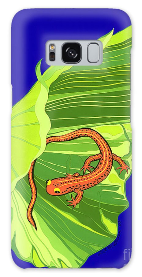 Nature Galaxy S8 Case featuring the drawing Salamander by Lucyna A M Green