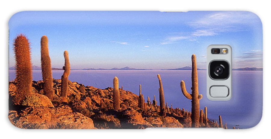 Bolivia Galaxy Case featuring the photograph Salar De Uyuni And Cacti At Sunrise by James Brunker