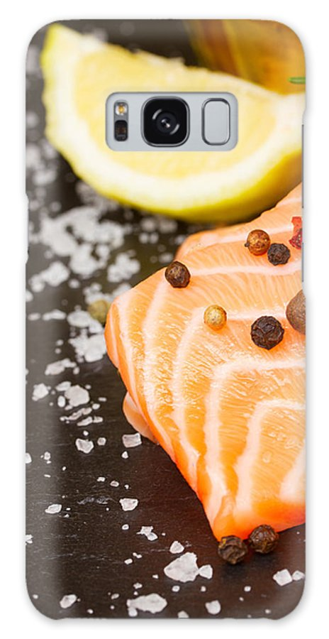 Salmon Galaxy S8 Case featuring the photograph Salmon Steak And Spices by Anastasy Yarmolovich
