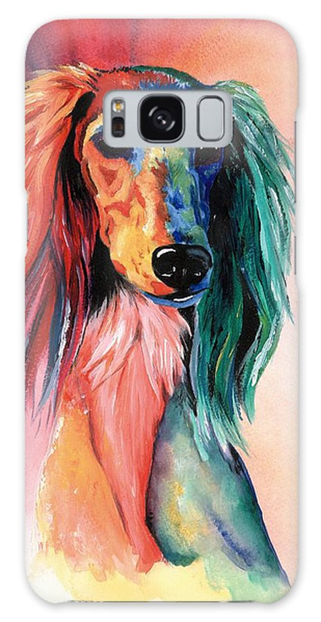 Saluki Galaxy Case featuring the painting Saluki Sunset by Kathleen Sepulveda