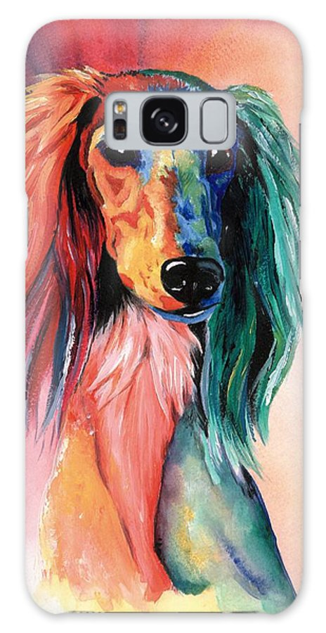 Saluki Galaxy Case featuring the painting Saluki Sunset by Kathleen Sepulveda