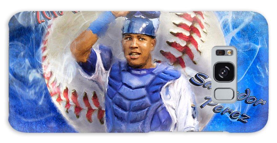 Salvie Galaxy S8 Case featuring the painting Salvador Perez 2015 World Series Mvp by Colleen Taylor