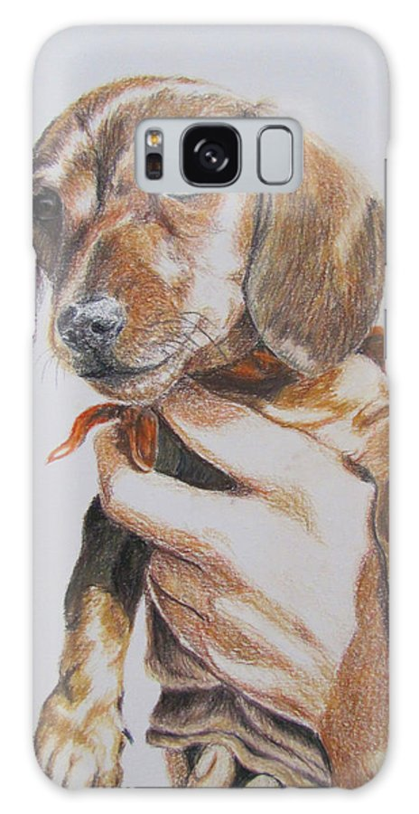 Puppy Galaxy S8 Case featuring the drawing Sambo by Karen Ilari