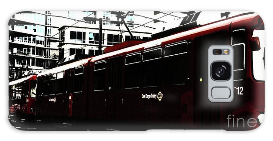 Red Galaxy S8 Case featuring the photograph San Diego Trolley by Linda Shafer
