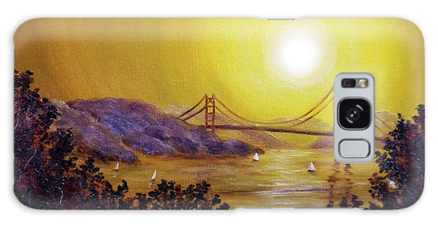 San Francisco Galaxy S8 Case featuring the painting San Francisco Bay In Golden Glow by Laura Iverson
