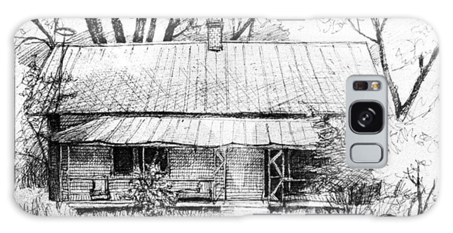 Landscape Galaxy Case featuring the drawing Sandersville Road Farmhouse by Peter Muzyka