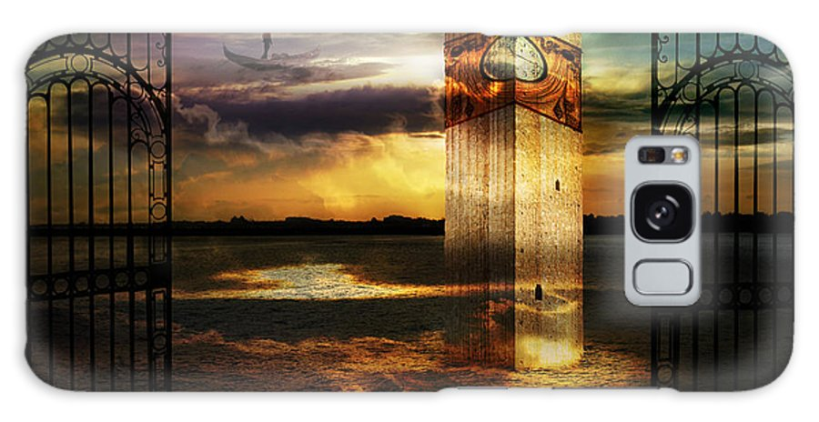 Surrealism Clouds Dream Dusk Italy Gates Legend Rays Sea Shore Sky Gondola Sunset Tower Doorway Way Galaxy S8 Case featuring the photograph Sands Of Memory by Desislava Draganova