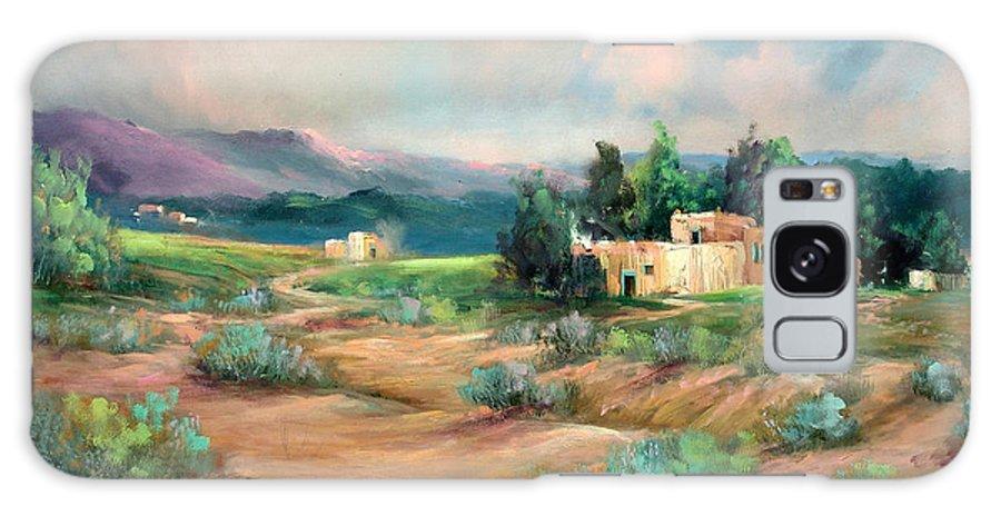 Santa Fe Galaxy S8 Case featuring the painting Santa Fe Pueblo by Sally Seago