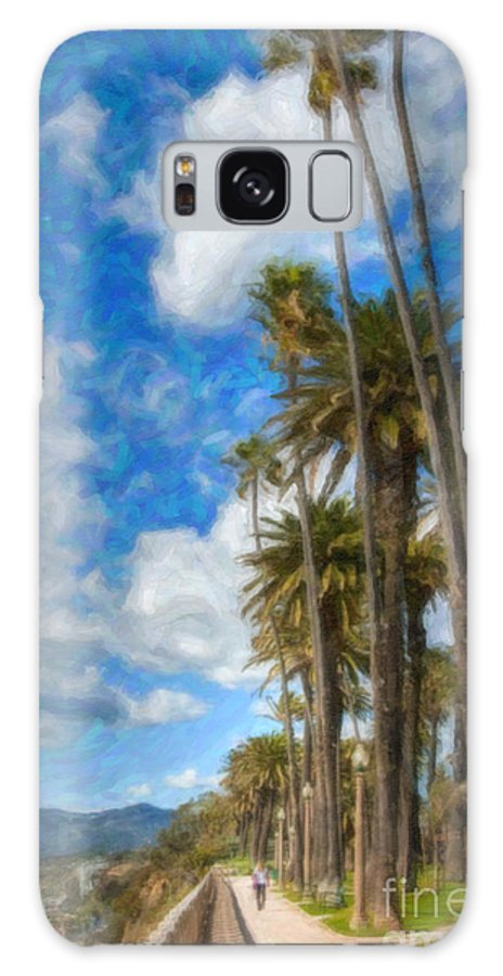 Looking North Galaxy S8 Case featuring the photograph Santa Monica Ca Palisades Park Bluffs Palm Trees by David Zanzinger