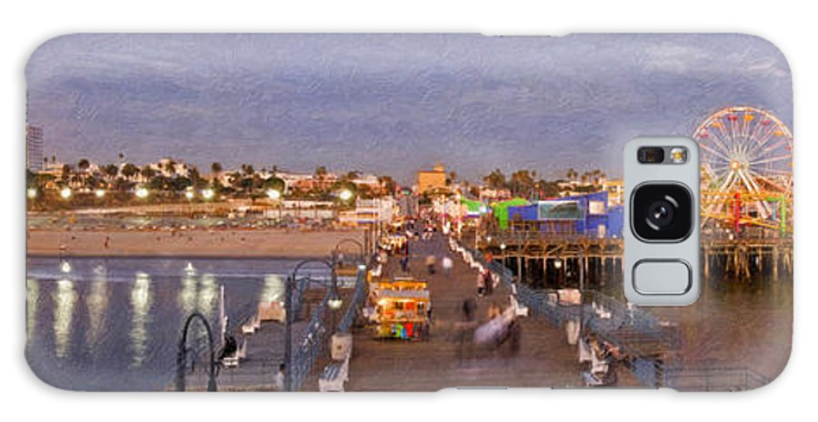 Santa Monica Pacific Park Pier Sunset Panoramic Galaxy S8 Case featuring the photograph Santa Monica Pacific Park Pier Skyline Panoramic by David Zanzinger