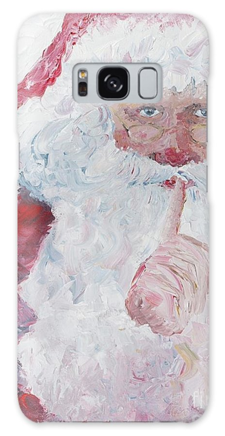 Santa Galaxy S8 Case featuring the painting Santa Shhhh by Nadine Rippelmeyer