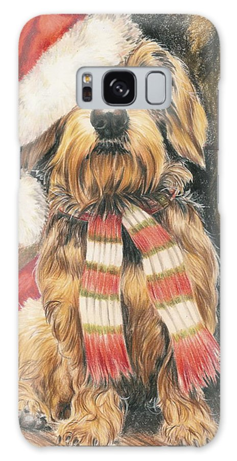 Hound Group Galaxy S8 Case featuring the drawing Santas Little Yelper by Barbara Keith