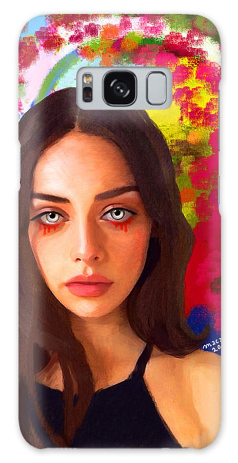 Woman Galaxy S8 Case featuring the painting Santia Is Crying 659 by Maciej Mackiewicz